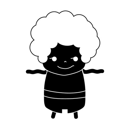 contour boy with curly hair and rogue face Vector illustration.