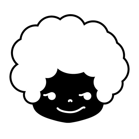 contour boy head with curly hair and rogue face Vector illustration.