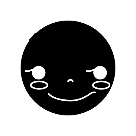 contour  head with cute rogue face Vector illustration. 向量圖像