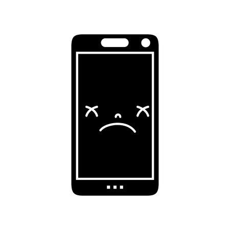 contour mignon téléphone intelligent vecteur visage illustration Vecteurs