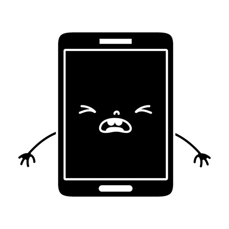 Contour cute smartphone pity face illustration.