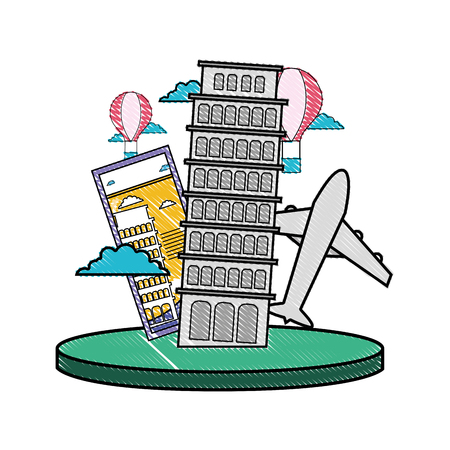 Grated leaning tower of pisa with ticket and air plane. Illustration