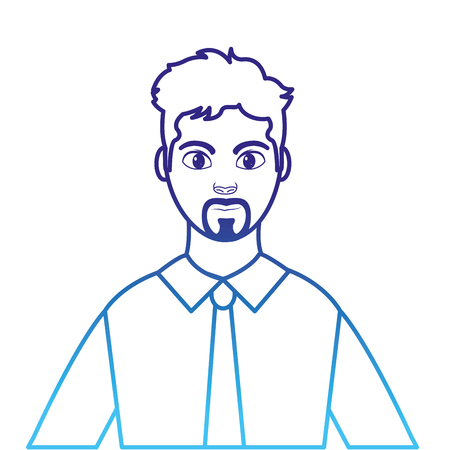 degraded line profile man with elegant shirt and hairstyle Illustration