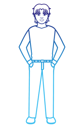 degraded line man with hairstyle design and elegant clothes Illustration