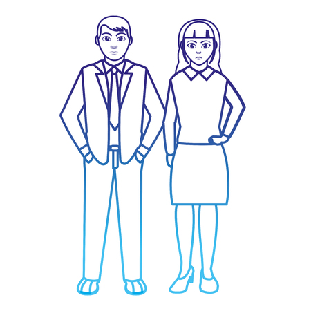 degraded line businesspeople with elegant clothes and hairstyle design