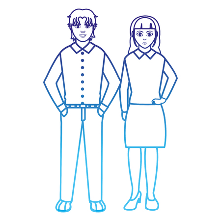 degraded line businesspeople elegant with clothes and hairstyle design