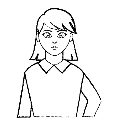 grunge avatar elegant woman with blouse design Vettoriali