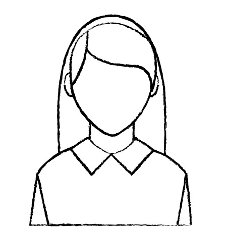 grunge avatar elegant woman with blouse and faceless