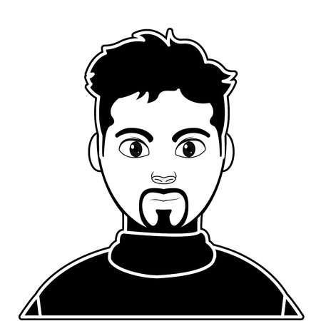 Silhouette user man with shirt and hairstyle design
