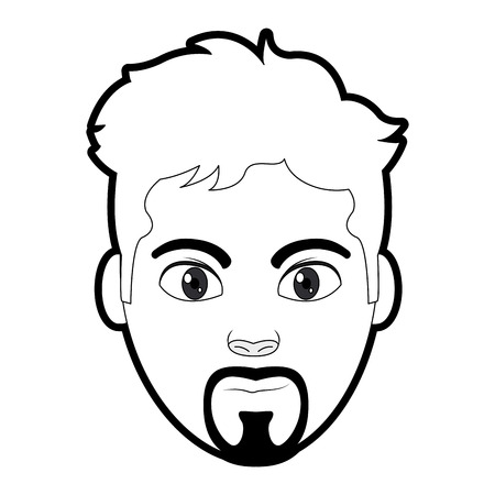 Outline avatar man head with facial expression vector illustration Stock Illustratie