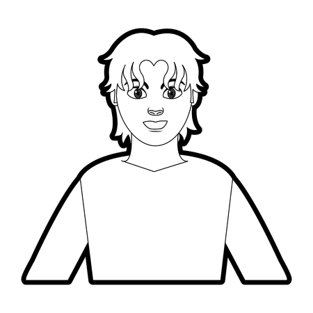 outline profile man with shirt and hairstyle design Illustration