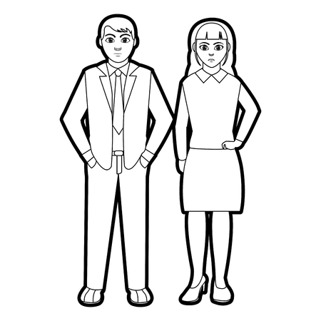 outline businesspeople with elegant clothes and hairstyle design vector illustration Illustration