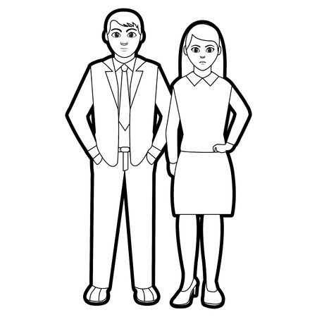 Outline people with elegant clothes and hairstyle design vector illustration.