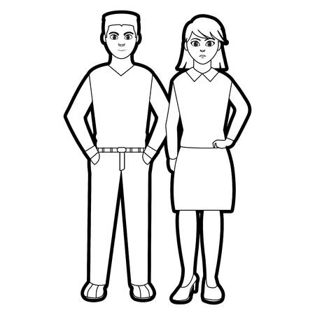 Outline elegant people with hair style design and clothes vector illustration.