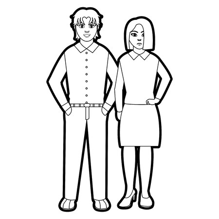 Outline people with elegant clothes style and hairstyle vector illustration. Illustration