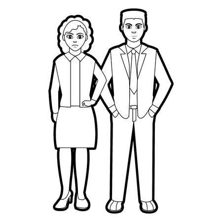 Outline people with hairstyle and elegant clothes style vector illustration.