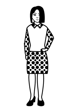 Filling texture elegant woman with blouse and skirt design vector illustration.
