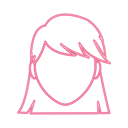neon line avatar woman faceless with hairstyle design Foto de archivo - 96176192