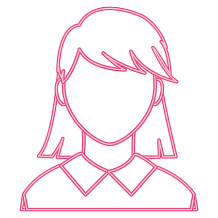 neon line avatar woman with faceless and elegant blouse Illustration
