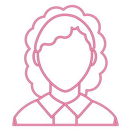 neon line avatar woman with blouse and default face Illustration
