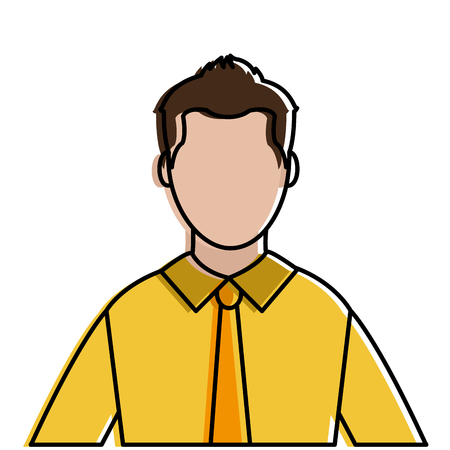 Colorful avatar elegant man with shirt and tie style vector illustration.