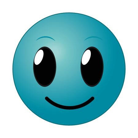 Blue happy face gesture symbol expression vector illustration.