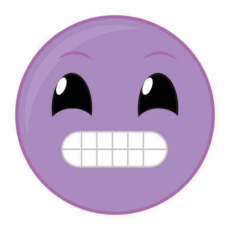Purple ups face gesture symbol expression vector illustration.