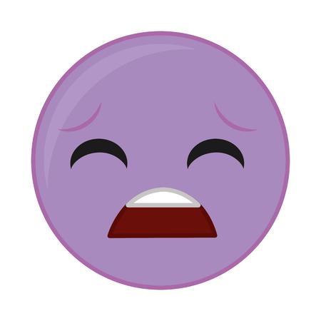 Purple pity face gesture symbol expression vector illustration. Ilustração Vetorial