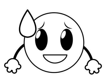 Eine Linie Scham Lachen Emoji Gesichtsausdruck mit Armen