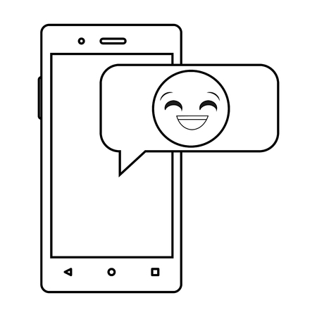 Line smartphone with emoji happy laugh chat vector illustration.