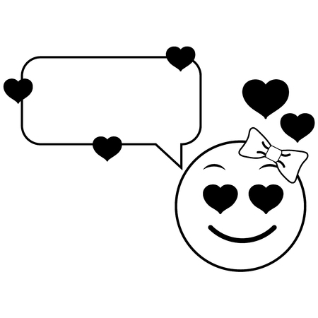 Line female emoji enamored face with chat bubble vector illustration.