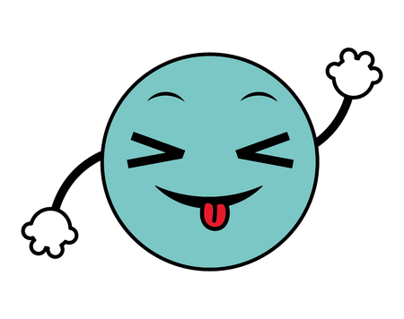 A line color joking emoji face expression with arms