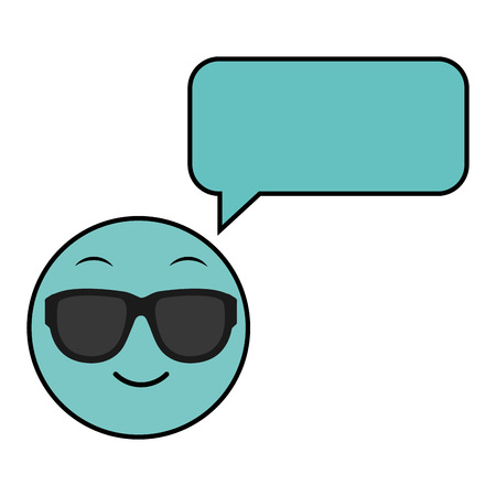 Line color emoji cool face with chat bubble vector illustration.