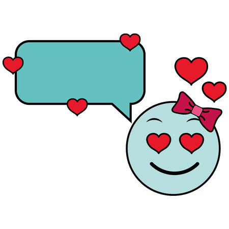 Line color female emoji enamored face with chat bubble vector illustration.