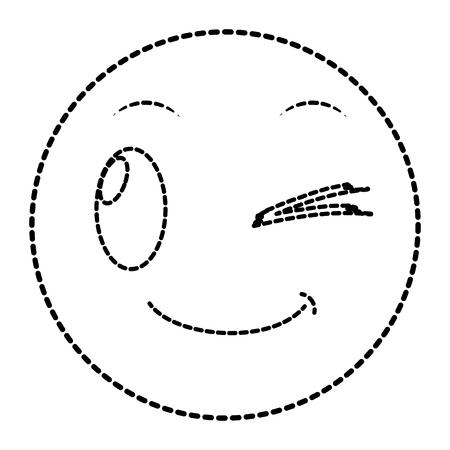 Dotted shape good face gesture symbol expression vector illustration.