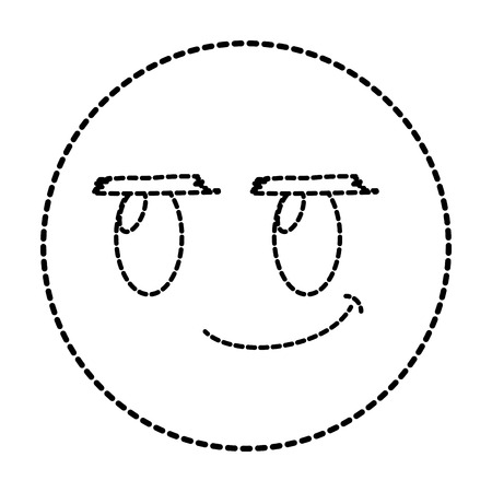 Dotted shape rogue face gesture symbol expression vector illustration.