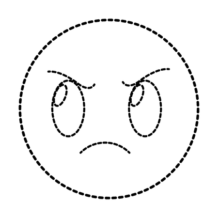 Dotted Shape Angry Face Gesture Symbol Expression Vector