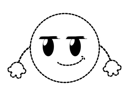 Dotted shape rogue emoji face expression with arms vector illustration.