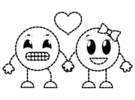 Dotted shape couple ups and happy face emoji vector illustration.