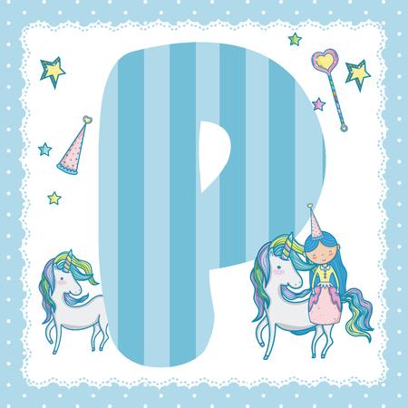 P alphabet letter for kids Vector illustration.