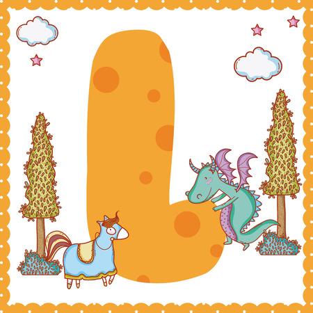 L alpahabet letter magic world concept vector illustration graphic design