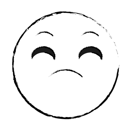 grunge disappointed face gesture emoji expression Vector illustration.  イラスト・ベクター素材