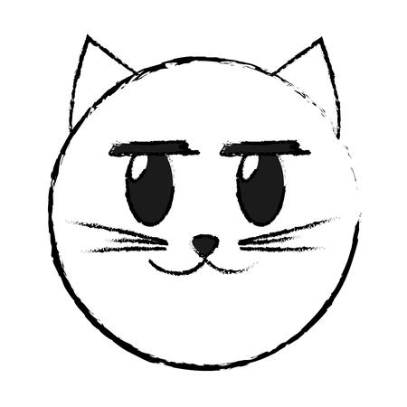 Grunge glad cat face emoji expression vector illustration
