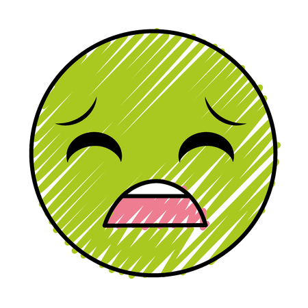 A doodle pity face gesture symbol expression vector illustration