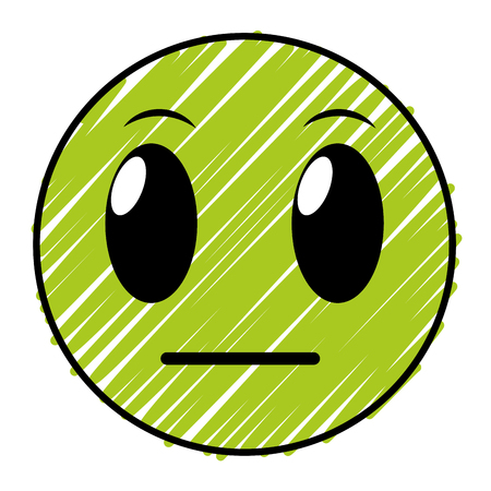 A doodle not knowing face gesture symbol expression vector illustration