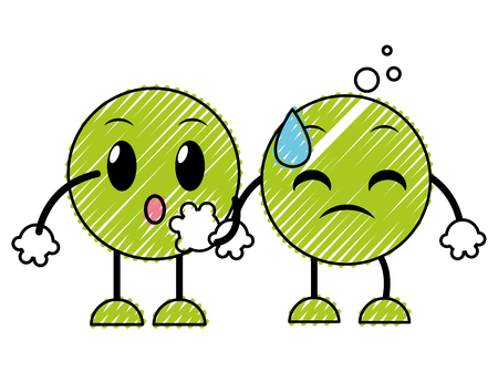 doodle couple amazed and sweating face emoji vector illustration