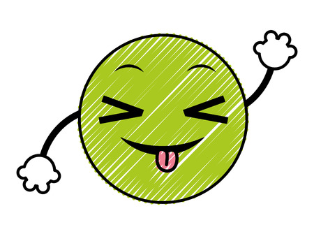 doodle joking emoji face expression with arms vector illustration