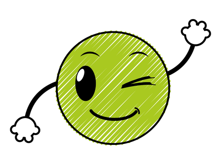 doodle good emoji face expression with arms vector illustration