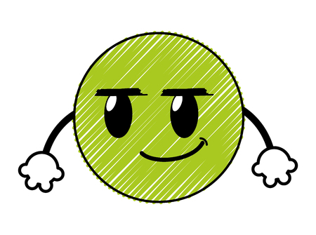 doodle rogue emoji face expression with arms vector illustration Illustration