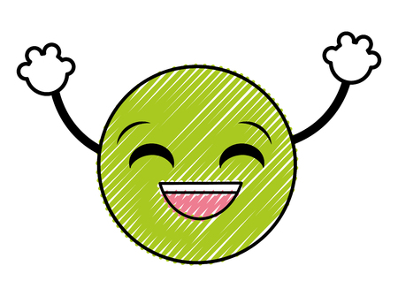 doodle laugh emoji face expression with arms vector illustration